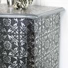 Silver Embossed 2 Drawer Bedside Lamp Table - Monique Range