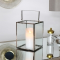 Silver Glass Candle Lantern with LED Candle