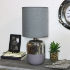 Silver & Grey Ceramic Bedside Table Lamp with Grey Shade