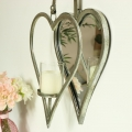 Silver Hanging Heart Mirror Candle Sconce