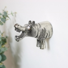 Silver Hippo Wall Hook