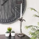 Silver Metal Palm Tree Candle Holder