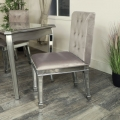 Silver Mirrored Dining Table & 4 x Chair Set - Tiffany Range DAMAGED SECOND 3989