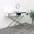 Silver Mirrored Glass & Metal Console Table