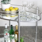 Silver Mirrored Oval Drinks Trolley