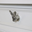 Silver Rabbit Head Drawer Knob