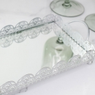 Silver Rectangle Mirrored Tray