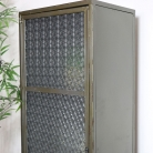 Slim Grey Metal Glass Fronted Storage Cabinet