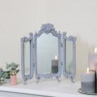 Small Grey Ornate Rose Triple Mirror - 37cm x 38cm