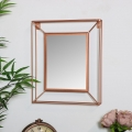 Small Wire Metal Copper Frame Wall Mirror