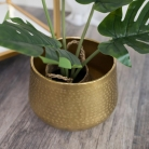 Small Round Gold Patterned Planter