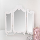 Small White Ornate Rose Triple Mirror - 37cm x 38cm