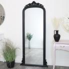 Tall Black Ornate Vintage Wall/Leaner Mirror 80cm x 180cm