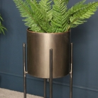 Tall Brushed Grey Metal Plant Pot on Stand