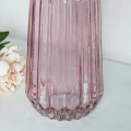 Tall Pink Ribbed Glass Vase