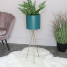 Tall Turquoise & Gold Plant Stand