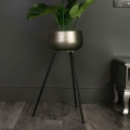 Tall Vintage Gold Metal Plant Pot on Stand