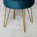 Teal Velvet Stool with Gold Hairpin Legs