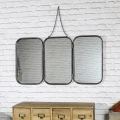 Vintage Retro 3 Panelled Wall Mirror