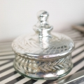 Vintage Silver Glass Trinket Jar