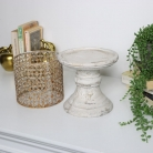 Vintage Stone and Metal Candle Stand