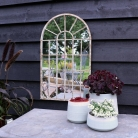 Wall Mounted Rustic Arched Window Mirror 36cm x 60cm
