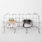 White Basket Shelf With Hooks