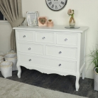 White Bedroom Furniture Large Chest of Drawers, Dressing Table Set & Pair of Bedside Tables - Victoria Range