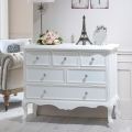 White Bedroom Furniture, Large Chest of Drawers & Pair of Bedside Tables - Elise White Range
