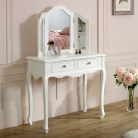 White Dressing Table & Mirror Set - Victoria Range
