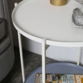 White Folding 2 Tier Occasional Tray Table