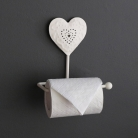 White Heart Design Toilet Roll Holder