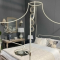 White Metal Four Poster Canopy King Size Bed