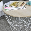 White Metal Wire Wooden Top Occasional Table