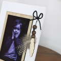 White Photo Frame with Feather Detail
