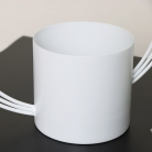 White Round Abstract Metal Planter