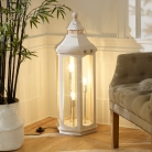 White Washed Wooden Lantern Floor Lamp