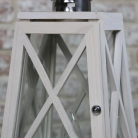 White Washed Wooden Lantern Style Table Lamp