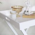 White Wooden Butlers Tray with Heart Detail