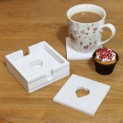 White Wooden Heart Coasters in Holder