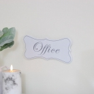 White Wooden 'Office'' Hanging Plaque