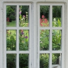 White Wooden Window Mirror