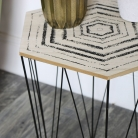 Wire Metal Occasional Basket Table with Wooden Top