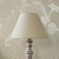 Wooden Table/Bedside Lamp with Beige Linen Light Shade