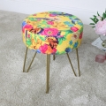 Yellow Floral Velvet Stool with Gold Hairpin Legs