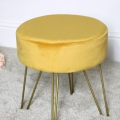 Yellow Velvet Stool with Gold Legs
