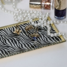 Zebra Print Glass Trinket Tray