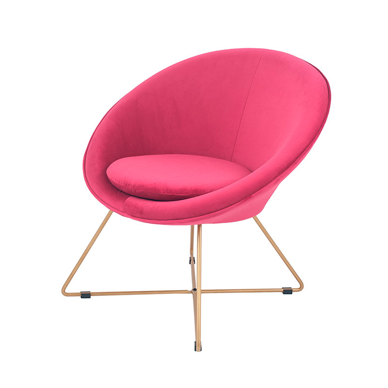 Hot Pink Velvet & Gold Retro Chair