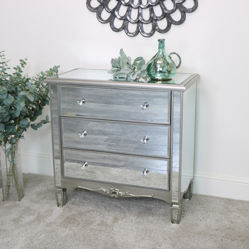 3 Drawer Mirrored Chest of Drawers  - Tiffany Range - DAMAGED SECOND 3322