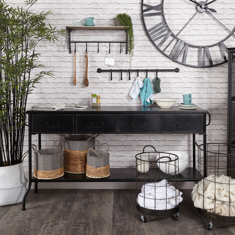 4 Drawer Black Iron Industrial Console Table